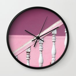 Pink Stairway Wall Clock