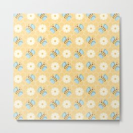 Bumble Bees & Daisies Pattern with Honeycomb Background Metal Print