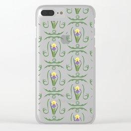 Iris Flowers Illustrated Pattern Purple Green Yellow Summer Garden Clear iPhone Case