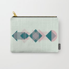 Nr. 1 Geometric Totem Pole Blush Pink and Green Carry-All Pouch