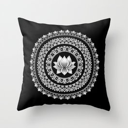 Black and White Lotus Mandala Throw Pillow