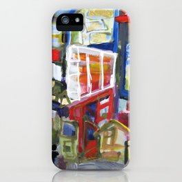 Walking Street Abstract City Scape Blue Red Yellow White Geometric iPhone Case