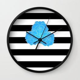 Stripes and Blue Roses Wall Clock
