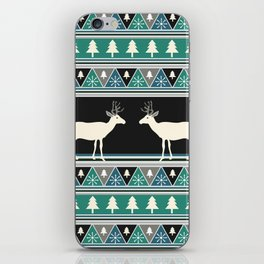 Christmas pattern with deer iPhone Skin