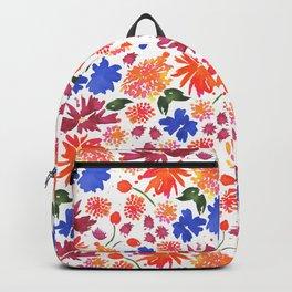 Wildflowers in Orange, Blue and Burgundy Backpack