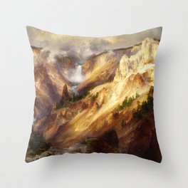 The Grand Canyon Of The Yellowstone 1901 By Thomas Moran | Watercolor Reproduction Throw Pillow