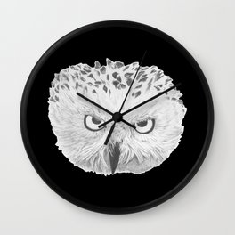 Snowy Owl Black Wall Clock
