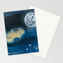 Moon Series #5 Watercolor + Ink Painting Stationery Cards
