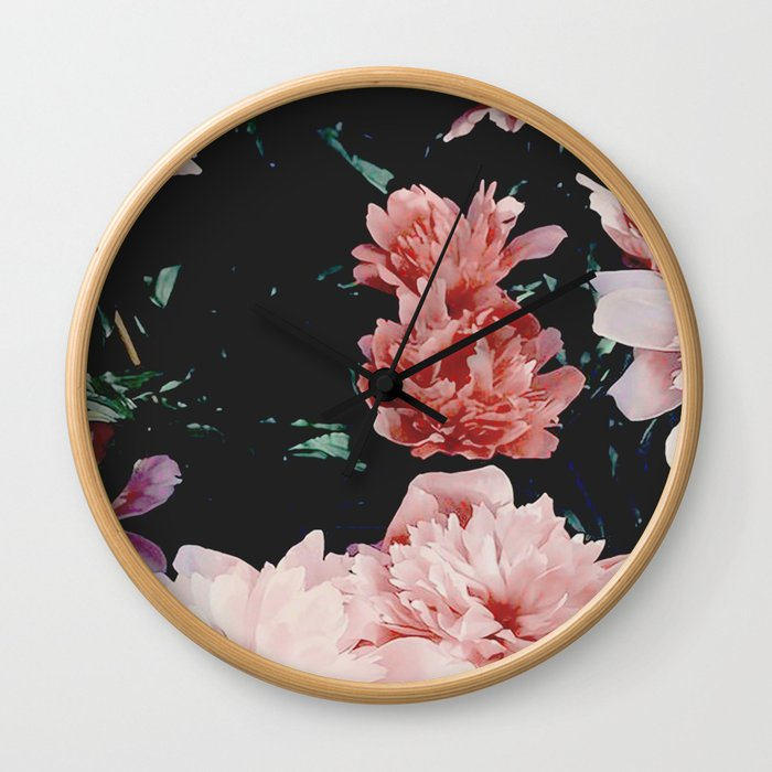 low colored poeny garden Wall Clock