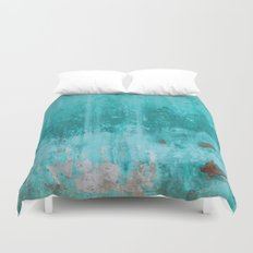 Weathered turquoise concrete wall texture Duvet Cover
