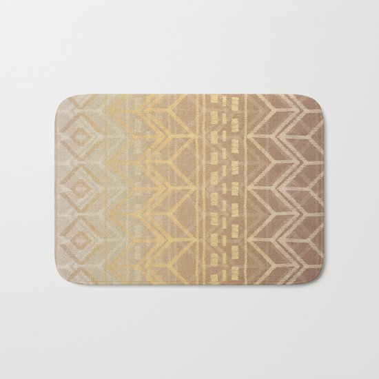 Neutral Tan & Gold Tribal Ikat Pattern Bath Mat