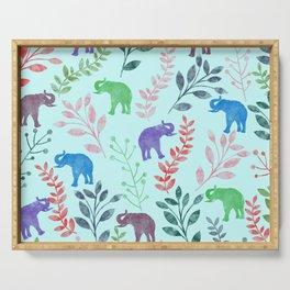 Watercolor Flowers & Elephants II Serving Tray