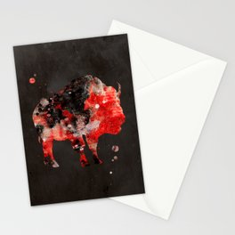 Watercolor Buffalo Bison Painting Black Red Grunge Stationery Cards