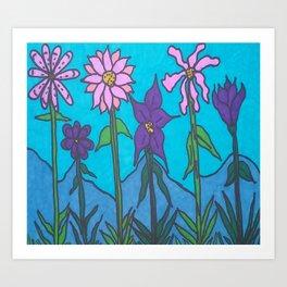 Blue Mountain Flowers Art Print