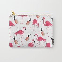 Flamingo and Pineapple Tropical Pattern Carry-All Pouch