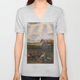 Columns of Sun over the Family Homestead on the American Plains by John Steuart Curry Unisex V-Neck