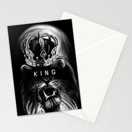 Lion, Lionart, King, Animal, Black,Minimal,Interior, Black White,Wall art, Art Print,Trendy decor Stationery Cards