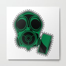 Cut out and keep gas mask — green Metal Print