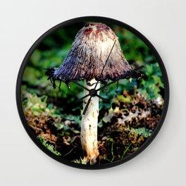 Ink Cap Mushroom Wall Clock