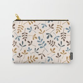 Assorted Leaf Silhouettes Ptn Blues Brwn Gld Crm Carry-All Pouch