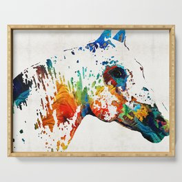 Colorful Horse Art - Wild Paint - By Sharon Cummings Serving Tray