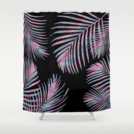 Iridescent Summer Palm Leaves Shower Curtain