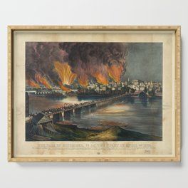 The fall of Richmond, Virginia on the night of April 2nd 1865 Serving Tray