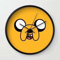 jake Wall Clocks featuring Jake by D-fens