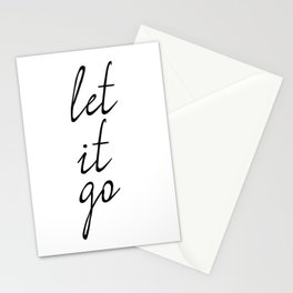 Let It Go, Inspirational Print, Home Decor, Quote Poster, Inspirational Quote Stationery Cards