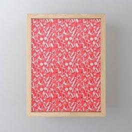 NSFW Red Kinky S&M Pattern Framed Mini Art Print