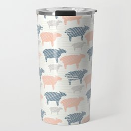 Pink Blue and Grey Pastel Color Sheep Silhouette Travel Mug