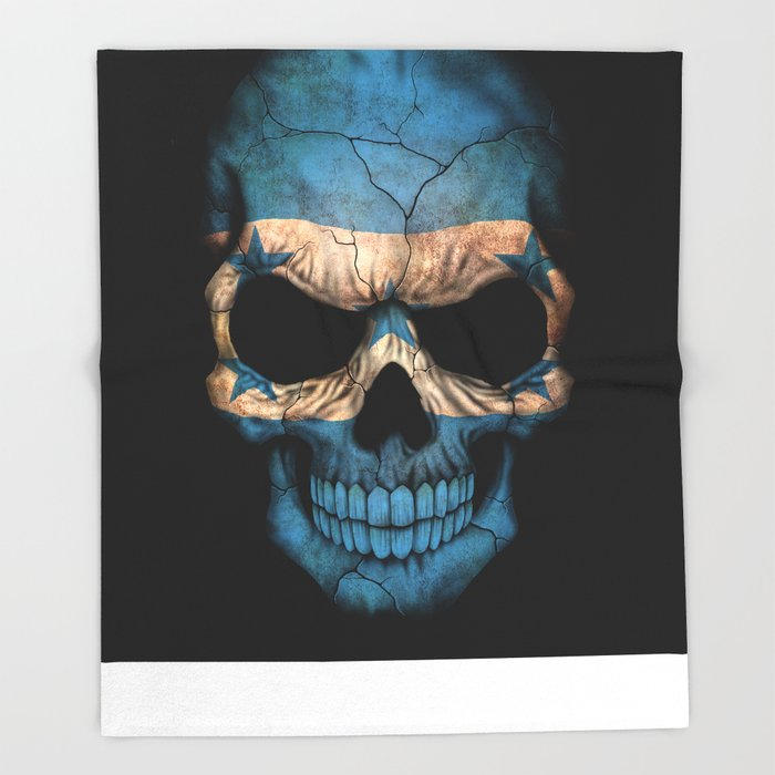 Dark Skull with Flag of Honduras Throw Blanket