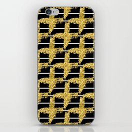 Gold glitter plaid on white stripes abd black background iPhone Skin