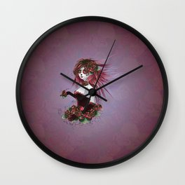 Sugar skull girl in purple Wall Clock