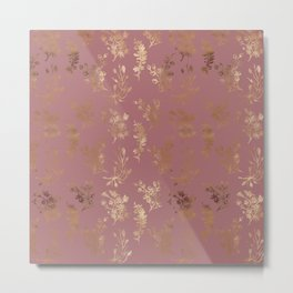 Mauve pink faux gold wildflowers illustration Metal Print