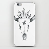 animal skull iPhone & iPod Skins featuring Longhorn Animal Skull by Madeleine Archambault