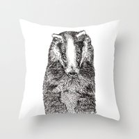 badger Throw Pillows featuring Badger by Meredith Mackworth-Praed