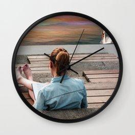 Girl and swan Wall Clock