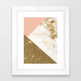 Gold marble collage Framed Art Print