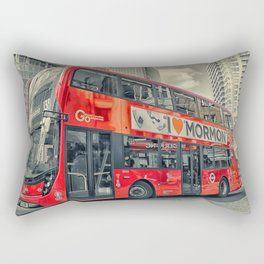 London Mormon Red Bus Rectangular Pillow