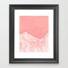 Lines in the mountains - pink Framed Art Print
