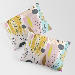 Pink And Yellow Abstract Art Trendy Modern Pattern Pillow Sham
