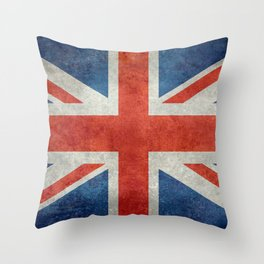 British flag of the UK, retro style Throw Pillow