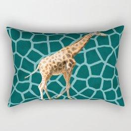 African Giraffe on Blue Camouflage Rectangular Pillow