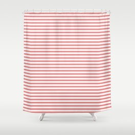 Mattress Ticking Narrow Horizontal Striped Pattern in Red and White Shower Curtain
