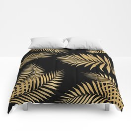Golden and Black Palm Leaves Comforters