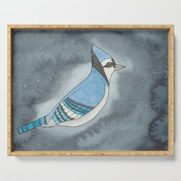 Blue Jay - Throat Chakra - Watercolor Painting Serving Tray