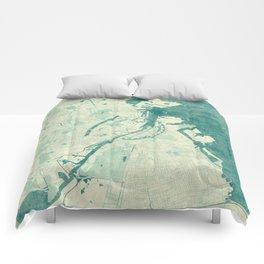 Copenhagen Map Blue Vintage Comforters