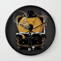 gangster Wall Clocks featuring Gangster Donut by Javier Ramos