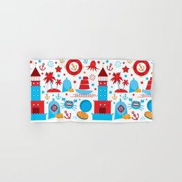 pattern with sea icons on white background. Seamless pattern. Red and blue Hand & Bath Towel